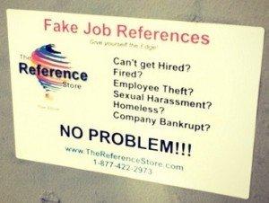 Fake Job Reference Sign