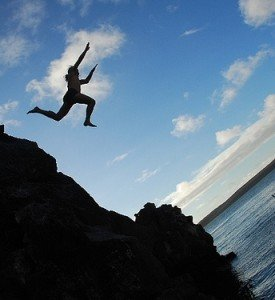 Man Jumping Off Cliff
