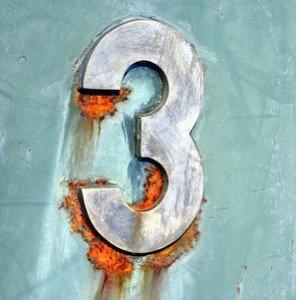 Number 3 White Sign on Light Blue Background