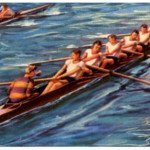 Painting of Rowers in a Boat with Coxswain