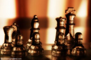 Brass Chess Pieces Closeup