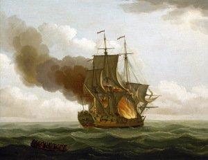 Painting of Burning Ship