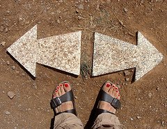 Person's Feet at Two Arrows