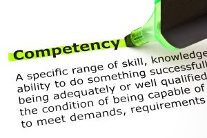 Definition of the word Competency highlighted with green marker
