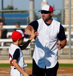 Coach and Baseball Player