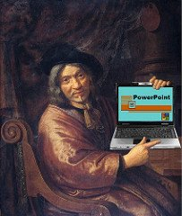 Painting of Man Holding Laptop Showing PowerPoint