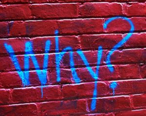 The word why spray painted on a red brick wall