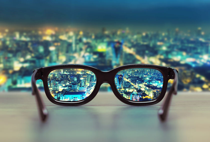 Glasses Looking Over Cityscape